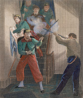 0046781 © Granger - Historical Picture ArchiveZOUAVE FATALITY, 1861.   The fatal shooting of Elmer Ephraim Ellsworth, Colonel of the New York Fire Zouaves and the first notable Northern fatality of the Civil War, in Alexandria, Virginia on 24 May 1861: steel engraving, 19th century.