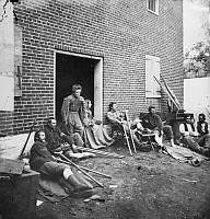 0130281 © Granger - Historical Picture ArchiveCIVIL WAR: WOUNDED, 1864.   Union soldiers wounded in the battles in the 'Wilderness,' at a hospital in Fredericksburg, Virginia, May 1864.