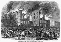 0004980 © Granger - Historical Picture ArchiveNEW YORK: DRAFT RIOTS.   Destruction of the colored orphan asylum during the New York City Draft Riots of 13-16 July 1863. Wood engraving from a contemporary American newspaper.