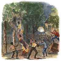 0008773 © Granger - Historical Picture ArchiveNEW YORK: LYNCHING, 1863.   Hanging and burning a black man in Clarkson Street during the New York City Draft Riots of 13-16 July 1863. Contemporary color engraving.