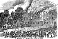 0027178 © Granger - Historical Picture ArchiveNEW YORK: DRAFT RIOTS.   The burning of the colored orphan asylum during the New York City Draft Riots of 13-16 July 1863. Contemporary American wood engraving.