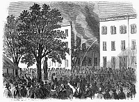 0027180 © Granger - Historical Picture ArchiveNEW YORK: DRAFT RIOTS.   The mob lynching a black man on 32nd Street between 6th and 7th Avenues during the New York City Draft Riots of 13-16 July 1863. Wood engraving from a contemporary German-language American newspaper.