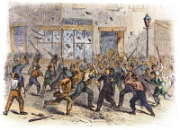 0076965 © Granger - Historical Picture ArchiveCIVIL WAR: DRAFT RIOTS.   An unruly mob during the New York City Draft Riots of July 13-16, 1863: contemporary wood engraving.