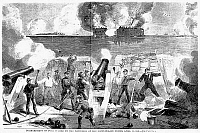 0000802 © Granger - Historical Picture ArchiveCIVIL WAR: FORT SUMTER, 1861.   Confederate batteries on the second day of the bombardment of Fort Sumter, 13 April 1861. Wood engraving, American, 1861.
