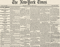 0002533 © Granger - Historical Picture ArchiveCIVIL WAR: FORT SUMTER.   Front page of 'The New York Times', 13 April 1861, announcing 'The War Commenced' the previous day when the first gun was fired by Fort Moultrie against Fort Sumter.