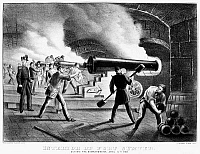 0002865 © Granger - Historical Picture ArchiveCIVIL WAR: FORT SUMTER, 1861.   Interior of Fort Sumter during the bombardment by Confederate forces, 12 April 1861. Contemporary lithograph by Currier and Ives.