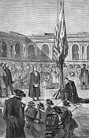 0051984 © Granger - Historical Picture ArchiveCIVIL WAR: FORT SUMTER 1860.   A prayer at Fort Sumter during the secession crisis, 27 December 1860. Contemporary wood engraving.