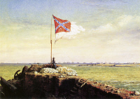 0065394 © Granger - Historical Picture ArchiveCHAPMAN: FORT SUMTER FLAG.   Conrad Wise Chapman: Flag of Fort Sumter, October 20, 1863 (1864). Oil on board.