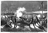0075729 © Granger - Historical Picture ArchiveCIVIL WAR: FORT SUMTER, 1861.   South Carolina militia firing on the Federal steamer 'Star of the West' in Charleston harbor en route to Fort Sumter on 10 January 1861: contemporary line engraving.