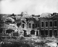 0259351 © Granger - Historical Picture ArchiveCIVIL WAR: FORT SUMTER.   The barracks of Fort Sumter destroyed during bombardment from the Second Battle of Charleston Harbor. Photograph, September 1863.
