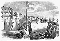 0265192 © Granger - Historical Picture ArchiveCIVIL WAR: FORT SUMTER 1861.   'The Battery or Park Promenade at Charleston, South Carolina, during the bombardment of Fort Sumter.' Wood engraving, American, 1861.