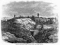 0101627 © Granger - Historical Picture ArchiveCIVIL WAR: FORT MOULTRIE.   Confederate battery at Fort Moultrie, Sullivan's Island, near Charleston, South Carolina. Wood engraving, 1864.