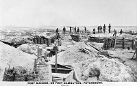 0130154 © Granger - Historical Picture ArchiveCIVIL WAR: PETERSBURG.   The Confederate Fort Mahone at Petersburg, Virginia, photographed after the city surrendered to the Union Army, 3 April 1865.