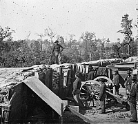 0131405 © Granger - Historical Picture ArchiveCIVIL WAR: FORTIFICATIONS.   Confederate fortifications in front of Atlanta, Georgia. Photograph by George N. Barnard in 1864.