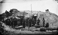 0131408 © Granger - Historical Picture ArchiveCIVIL WAR: HEADQUARTERS.   Confederate headquarters of a field officer of the trenches, Morris Island, South Carolina. Photograph by Haas & Peale in 1863.