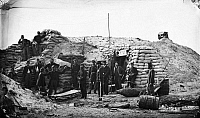 0163575 © Granger - Historical Picture ArchiveCIVIL WAR: UNION FORT.   Union soldiers in a fort on Morris Island in Charleston Harbor, South Carolina. Photograph, July or August 1863.