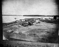 0165533 © Granger - Historical Picture ArchiveCIVIL WAR: FORT DEFIANCE.   A view of Fort Defiance (or Camp Defiance) at the confluence of the Ohio and Mississippi Rivers near Cairo, Illinois. Photographed in the fall of 1861.