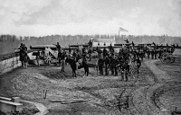0172051 © Granger - Historical Picture ArchiveCIVIL WAR: UNION FORT.   Union soldiers at Fort Totten in Washington, D.C., during the American Civil War, c1863.