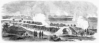 0267558 © Granger - Historical Picture ArchiveCIVIL WAR: UNION FORT, 1862.   Union Army battery of 200-pounder parrott guns near Yorktown and Gloucester, Virginia. Engraving after a drawing by Alfred R. Waud, 1862.