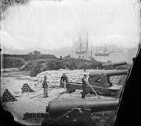 0634062 © Granger - Historical Picture ArchiveCIVIL WAR: YORKTOWN, 1862.   Confederate Magruder battery with 8-inch Columbiad cannons at Yorktown, Virginia. Photograph, 1862.