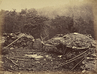 0268002 © Granger - Historical Picture ArchiveGETTYSBURG, 1863.   The breastworks on Round Top on the battlefield at Gettysburg, Pennsylvania. Photograph by Timothy O'Sullivan, July 1863.