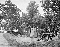 0268010 © Granger - Historical Picture ArchiveGETTYSBURG, c1903.   A monument at the Summit of Culp's Hill at the Gettysburg National Military Park in Pennsylvania. Photograph, c1903.