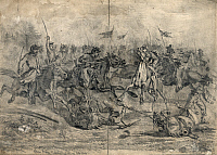 0268011 © Granger - Historical Picture ArchiveCIVIL WAR: BRANDY STATION.   Cavalry charge near Brandy Station, Virginia, during the Battle of Brandy Station, June 9 1863. Drawing by Edwin Forbes, 1864.