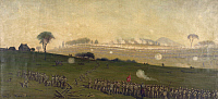 0268667 © Granger - Historical Picture ArchiveCIVIL WAR: GETTYSBURG.   General Pickett's charge on the Union center at the Grove of Trees during the Battle of Gettysburg. Painting by Edwin Forbes, mid to late 19th century.
