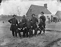 0032840 © Granger - Historical Picture ArchiveCIVIL WAR: SURGEONS, 1865.   A group of Union Army surgeons from the Army of the James at Fort Harrison, Virginia. Photographed in April 1865.