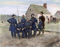 0039926 © Granger - Historical Picture ArchiveUNION ARMY SURGEONS, 1865.   A group of Union Army surgeons from the Army of the James at Fort Harrison, Virginia. Oil over a photograph, 1865.