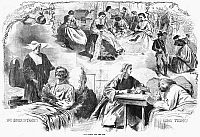 0267738 © Granger - Historical Picture ArchiveCIVIL WAR: WOMEN, 1862.   'Our Women and the War.' Scenes of women helping the Union Army during the American Civil War. Wood engraving, American, 1862.