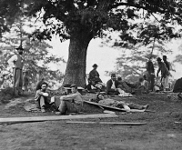 0526472 © Granger - Historical Picture ArchiveCIVIL WAR: WOUNDED, c1863.   Wounded soldiers at a field hospital in Fredericksburg, Virginia. Photograph, c1863.