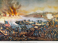 0011764 © Granger - Historical Picture ArchiveBATTLE OF FREDERICKSBURG.   The Battle of Fredericksburg, Virginia, 13 December 1862: lithograph, 1888, by Kurz & Allison.