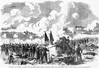 0057886 © Granger - Historical Picture ArchiveBATTLE OF THE CHICKAHOMINY.   The Army of the Potomac, led by General Fitz John Porter, is attacked by Confederates on 27 June, 1862 in Hanover County, Virginia. Wood engraving from a contemporary American newspaper.