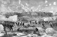 0061970 © Granger - Historical Picture ArchiveNC: FORT FISHER, 1865.   The Union attack on Fort Fisher, North Carolina, 15 January 1865. Wood engraving from a contemporary Northern newspaper.