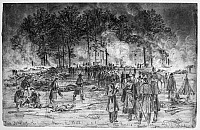 0086738 © Granger - Historical Picture ArchiveCIVIL WAR: FAIR OAKS.   Burying the dead and burning the horses after the Battle of Fair Oaks, Virginia, during the American Civil War, 31 May 1862. Pencil drawing, 1862, by Alfred R. Waud.