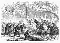 0090414 © Granger - Historical Picture ArchiveCIVIL WAR: FALLS CHURCH.   Skirmish near Falls Church, Virginia, close to Washington, D.C., December 1861. Wood engraving from a contemporary English newspaper.