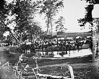 0090417 © Granger - Historical Picture ArchiveCIVIL WAR: TRANSPORT, 1862.   Federal battery fording a tributary of the Rappahannock River on the day of the Battle of Cedar Mountain, 9 August 1862. Photographed by Timothy H. O'Sullivan.