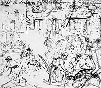 0101497 © Granger - Historical Picture ArchiveCIVIL WAR: FREDERICKSBURG.   Union troops sacking the town of Fredericksburg, Virginia, after the bombardment and battle, 13 December 1862. Sketch by an artist at the front.