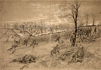 0176296 © Granger - Historical Picture ArchiveBATTLE OF KERNSTOWN, 1862.   View of the First Battle of Kernstown in Virginia during the American Civil War. Drawing by Alfred R. Waud, March 1862.