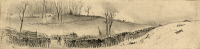 0176297 © Granger - Historical Picture ArchiveBATTLE OF KERNSTOWN, 1862.   View of the First Battle of Kernstown in Virginia during the Civil War. Drawing by Edwin Forbes,  March 1862.