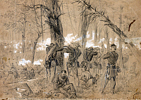 0259364 © Granger - Historical Picture ArchiveCIVIL WAR: GLENDALE, 1862.   General Philip Kearny's division, probably during the Battle of Glendale in Virginia, 30 June 1862.  Drawing by A.R. Waud, 1862.