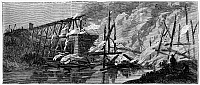0000740 © Granger - Historical Picture ArchiveCIVIL WAR: NORTH ANNA RIVER.   Destruction of the Fredericksburg and Richmond Railroad Bridge over the North Anna River, Virginia, 1864. Wood engraving, American, 1864.