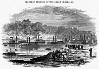 0032038 © Granger - Historical Picture ArchiveCIVIL WAR: RED RIVER, 1863.   Admiral David Dixon Porter's fleet of ironclads on the Red River, March 1863. Wood engraving from a contemporary American newspaper.