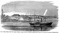 0064856 © Granger - Historical Picture ArchiveCIVIL WAR: UNION STEAMER.   The Union steamer 'Daniel Webster' off Point Isabel, Texas, March 1861, bound for New York carrying federal troops from Fort Brown, Texas. Wood engraving from a contemporary American newspaper.
