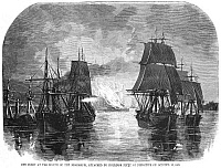 0064857 © Granger - Historical Picture ArchiveCIVIL WAR: NAVAL SQUADRON.   A Union squadron anchored at the mouth of the Mississippi River attacked by a Confederate fleet under Commodore George Nichols Hollins on the night of 12 October 1861. Wood engraving from a contemporary American newspaper.