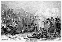 0087285 © Granger - Historical Picture ArchiveFORT PILLOW MASSACRE, 1864.   The capture and 'massacre' of Fort Pillow, Tennessee, by Confederate troops under Major General Nathan B. Forrest on 12 April 1864. Wood engraving from a contemporary Northern newspaper.