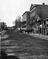 0090712 © Granger - Historical Picture ArchiveCIVIL WAR: ATLANTA, 1864.   Decatur Street, with a view of the Trout House and Masonic Hall, at Atlanta, Georgia. Photographed by George N. Rainer, 1864.