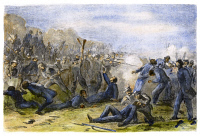 0108210 © Granger - Historical Picture ArchiveFORT PILLOW MASSACRE, 1864.   The capture and 'massacre' of Fort Pillow, Tennessee, by Confederate troops under Major General Nathan B. Forrest on 12 April 1864. Wood engraving, American, 1864.