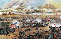 0109360 © Granger - Historical Picture ArchiveBATTLE OF FREDERICKSBURG.   The assault on Marye's Heights during the Civil War Battle of Fredericksburg, Virginia, 13 December 1862. Painting by Union Lieutenant Frederick Cavada.